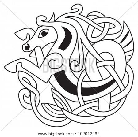 Celtic horse - unicorn Symbol. Great for tattoo or artwork.