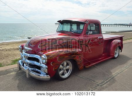Classic red Chevrolet pickup truck