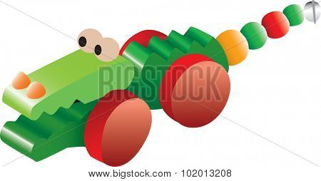 Colorful illustration of a crocodile children's toy, isolated against a white background.