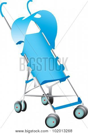 A blue baby stroller illustration on white.