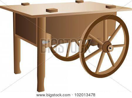 An illustration of a wooden handcart.