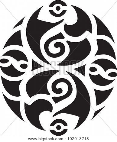 Abstract black Irish-Celtic design isolated on a white background.