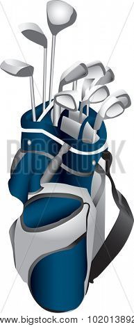 Illustration of a set of gold clubs in a blue and gray gold bag.