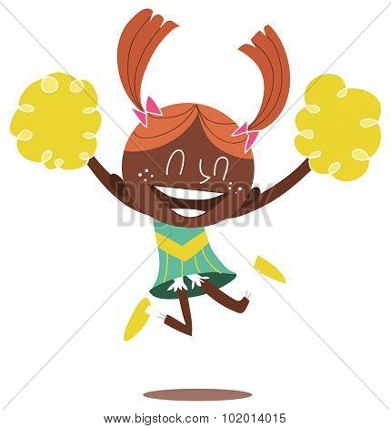 Illustration of a young black smiling cheerleader jumping and cheering with two ponytails. Looks excited.