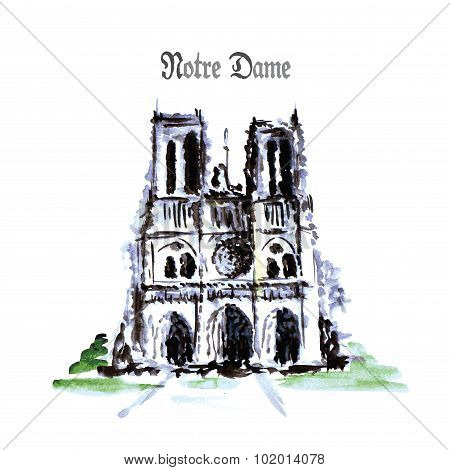 Notre Dame De Paris Cathedral, France. Watercolor Hand Drawing.
