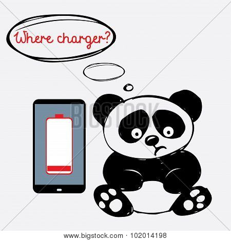 Cute sad panda with a smartphone that is discharged
