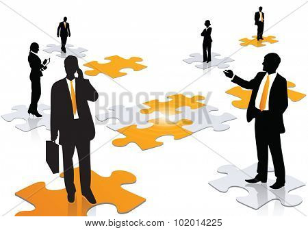 A team of professional working together to solve an issue. Business or marketing concept of businessman and woman working, forming a jigsaw puzzle on the center
