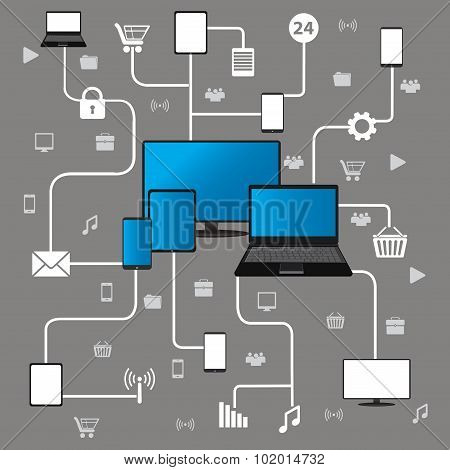 Conceptual picture of connection between gadgets, icons, network