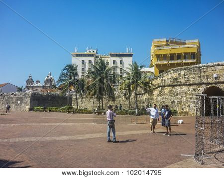 Tourists At Entrance Of Historic Center Of Cartagena Colombia