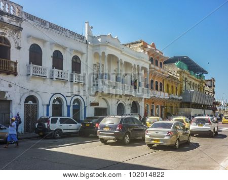 Street Of Historic Center Of Cartagena Colombia