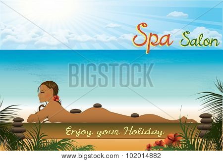 Beautiful girl lying in the spa salon on the beach