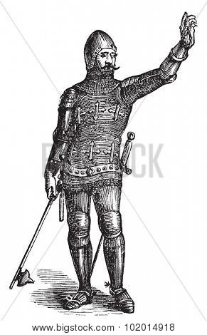 French soldier in armor in 1370, old engraving. Vector, engraved illustration of soldier in armor in the medieval era.