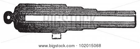 Whithworth gun section or Whirtworth rifle section old engraving. Old engraved illustration of a Withworth gun section. Created by Joseph Whitworth.