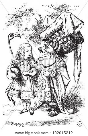 Alice (with flamingo) chat with the Duchess - Alice in Wonderland vintage engraving. Alice is holding a flamingo under her arm as she speaks with the Duchess, who wears a large hat and a flowery dress