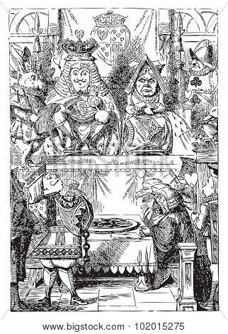 Frontispiece: The King and Queen inspecting the tarts. The plate of tarts is presented for the approval of the King and Queen of Hearts in their throne-room. Alice's Adventures in Wonderland.