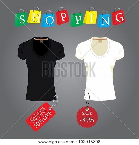 Black and white T-shirt with labels, paper bags with the word sh