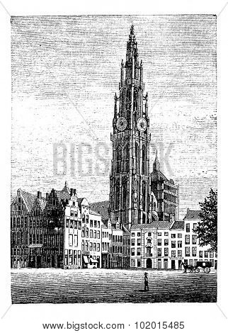 Cathedral of Our Lady, in Antwerp, Belgium, vintage engraving. Old engraved illustration of one of the World Heritage site, the Cathedral of Our Lady, Antwerp.