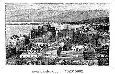 Beirut city, Lebanon, vintage engraving. Old engraved illustration of the city of Beirut in Lebanon in the 1890s, cityscape