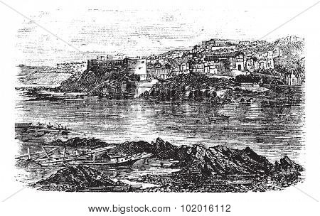 Attock or Campbellpur, Punjab, Pakistan. Vintage engraving. Old engraved illustration of Attock city located in the northern border of the Punjab of Pakistan and the headquarters of Attock District.