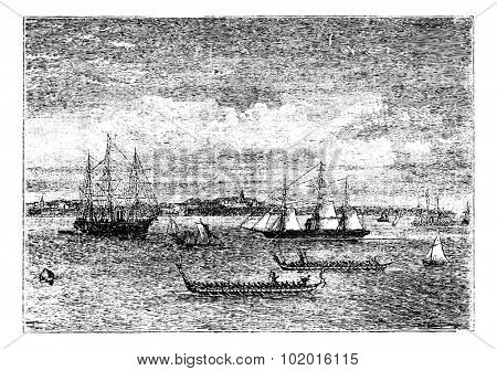 Auckland harbor in the 1890s vintage engraving, New Zealand. Old engraved illustration of Auckland harbor in the 1890s, showing ships.