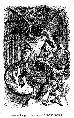 The Jabberwocky - Through the Looking Glass and what Alice Found There original book engraving. Alice is battling the Jabberwocky, swinging her sword.
