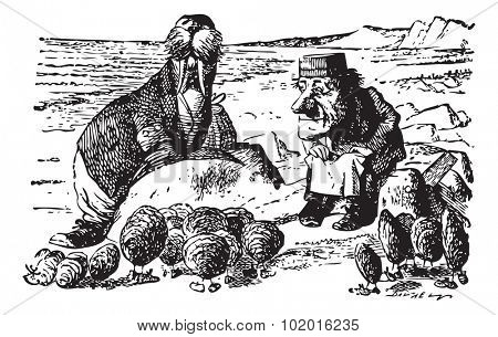 The Walrus, The Carpenter and the Little Oysters - original book engraving. Walked on a mile or so, And then they rested on a rock Conveniently low: And all the little Oysters stood