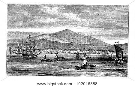 Jakarta (Batavia) in Indonesia, during the 1890s, vintage engraving. Old engraved illustration of Jakarta in the Java islands. Trousset Encyclopedia