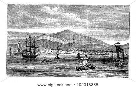 Jakarta (Batavia) in Indonesia, during the 1890s, vintage engraving. Old engraved illustration of Jakarta in the Java islands. Trousset Encyclopedia