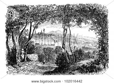 Bergamo, in Lombardi, Italy, during the 1890s, vintage engraving. Old engraved illustration of Bergamo. Trousset Encyclopedia