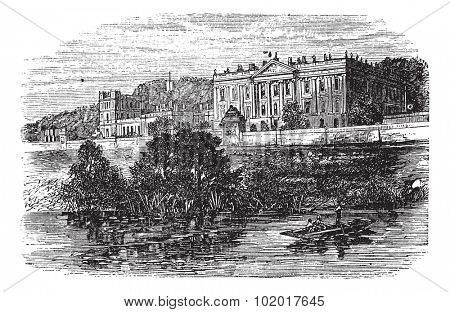 Cheltenham College, in Gloucestershire, United Kingdom, during the 1890s, vintage engraving. Old engraved illustration of Cheltenham College. Trousset Encyclopedia
