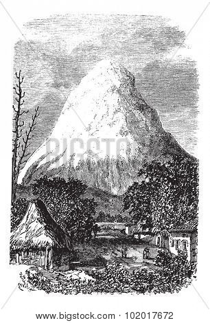 Chimborazo Volcano in Ecuador, during the 1890s, vintage engraving. Old engraved illustration of the Chimborazo Volcano in Ecuador. Trousset Encyclopedia