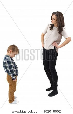 Young Mother Disciplining Her Young Son Isolated