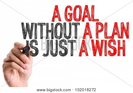 Hand with marker writing: A Goal Without a Plan Is Just a Wish