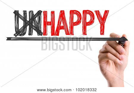 Hand with marker writing: Unhappy/Happy