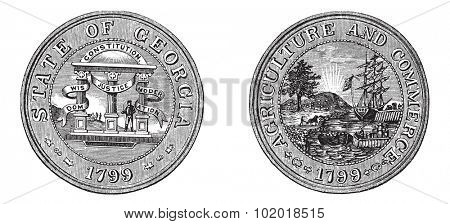 Great Seal of the State of Georgia, USA, vintage engraving. Old engraved illustration of Great Seal of the State of Georgia with both sides, isolated on a white background.