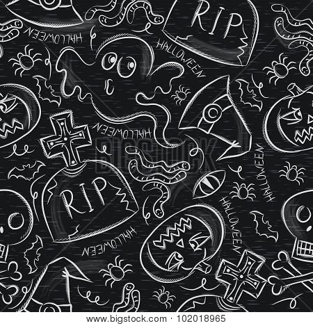 Seamless Pattern With Halloween Objects On Blackboard
