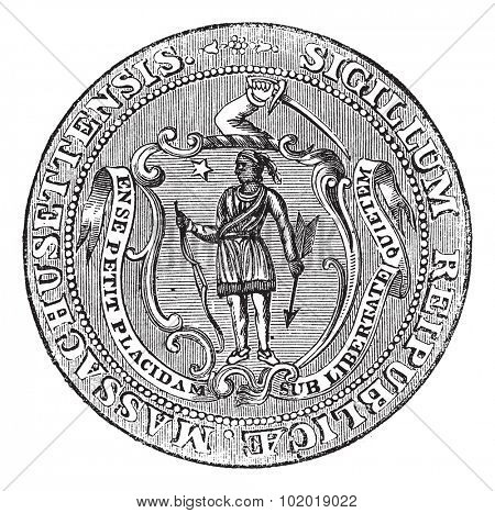 Great Seal of the Commonwealth of Massachusetts or the Seal of the Republic of Massachusetts, United States, vintage engraving. Isolated on a white background. Trousset Encyclopedia