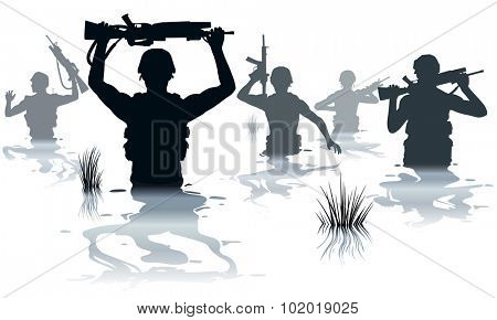 EPS8 editable vector illustration of soldiers on patrol wading through water