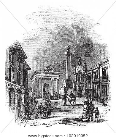 Devonport in Devon, England, United Kingdom, during the 1890s, vintage engraving. Old engraved illustration of Devonport showing Town Hall and Column. Trousset Encyclopedia