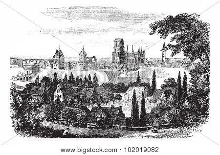 Gdansk in Pomerania, Poland, during the 1890s, vintage engraving. Old engraved illustration of Gdansk. Trousset Encyclopedia