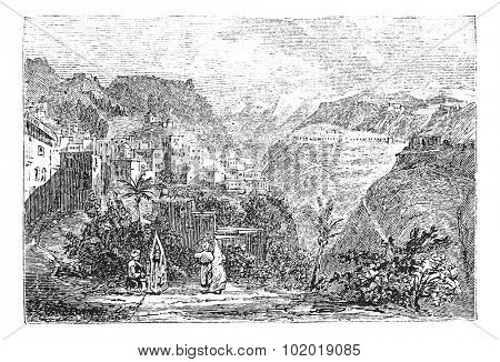 Deir el Qamar in Lebanon, during the 1890s, vintage engraving. Old engraved illustration of Deir el Qamar. Trousset Encyclopedia