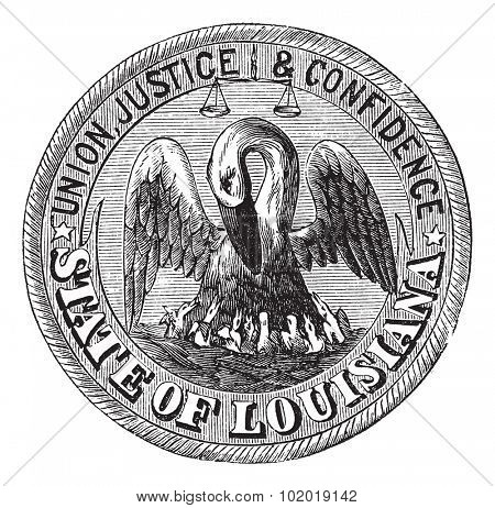 Great Seal of the State of Louisiana, USA, vintage engraving. Old engraved illustration of Great Seal of the State of Louisiana  isolated on a white background. Trousset Encyclopedia