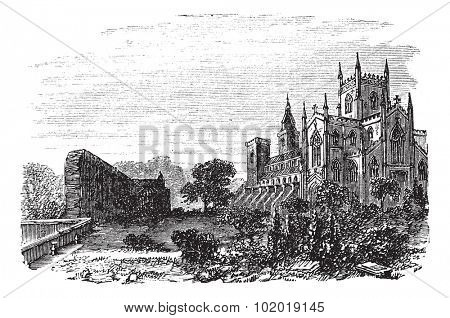 Dunfermline in Fife, Scotland, during the 1890s, vintage engraving. Old engraved illustration of Dunfermline. Trousset Encyclopedia