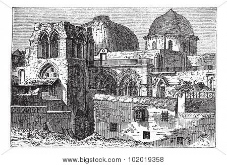 Church of the Holy Sepulchre or Church of the Resurrection in Jerusalem, Israel, during the 1890s, vintage engraving. Old engraved illustration of Church of the Holy Sepulchre. Trousset Encyclopedia