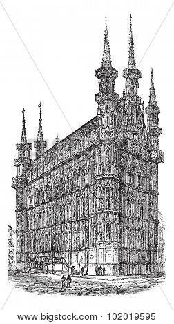 Town Hall of Leuven, Belgium, during the 1890s, vintage engraving. Old engraved illustration of Town Hall of Leuven. Trousset encyclopedia (1886 - 1891)