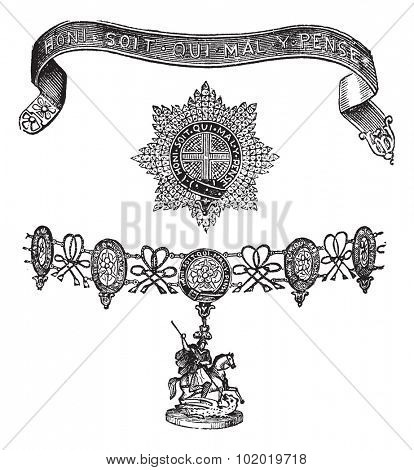 Insignia of the Order of the Garter, vintage engraving. Old engraved illustration of Insignia of the Order of the Garter isolated on a white background. Trousset encyclopedia (1886 - 1891)