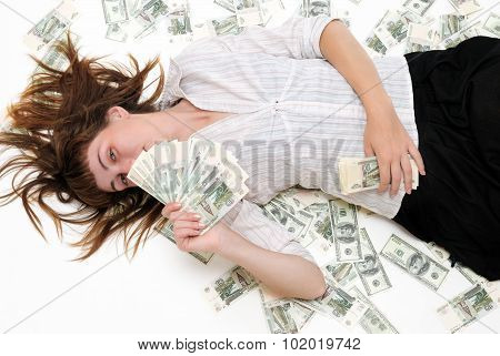 The Girl Lays On Money