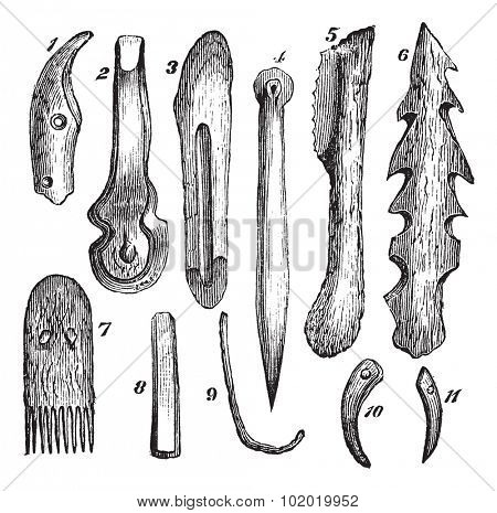 Bone implements, flint and wood, found in Moosseedorf vintage engraving. Old engraved illustration of 1.knife-tooth boar 2.bone chisel 3.bone knife 4.Alene bone  Trousset encyclopedia (1886 - 1891).