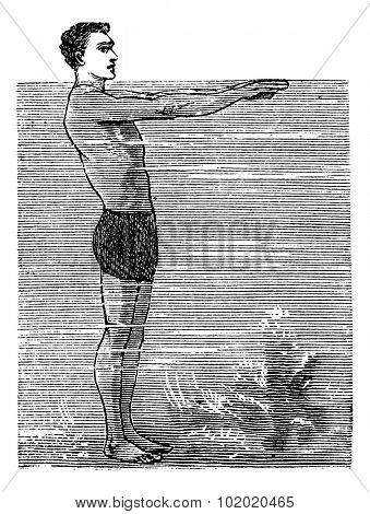 Breaststroke, Second Position, vintage engraved illustration. Trousset encyclopedia (1886 - 1891).