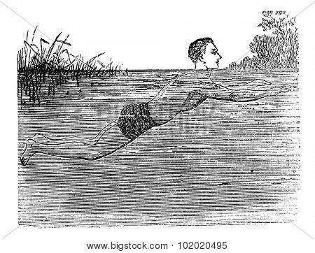 Breaststroke, Fifth Position, vintage engraved illustration. Trousset encyclopedia (1886 - 1891).
